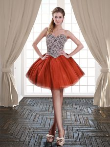 Ideal Rust Red Homecoming Gowns Prom and Party with Beading Sweetheart Sleeveless Lace Up