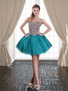 Mini Length Lace Up Homecoming Dress Online Teal for Prom and Party with Beading