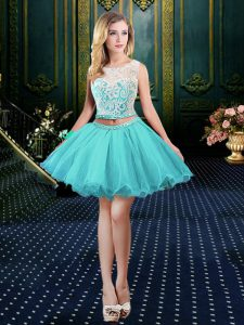 Beautiful Scoop Sleeveless Lace Clasp Handle Homecoming Dress