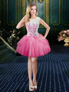 Tulle Scoop Sleeveless Clasp Handle Lace Homecoming Dress in Hot Pink