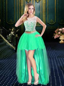 Amazing Scoop Sleeveless Clasp Handle High Low Lace Prom Homecoming Dress