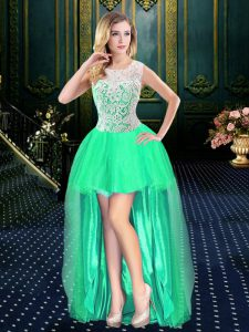 Latest Clasp Handle Scoop Sleeveless Junior Homecoming Dress High Low Beading Turquoise Organza
