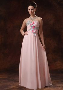 Baby Pink Beaded Celebrity Homecoming Dress with Hand Made Flowers