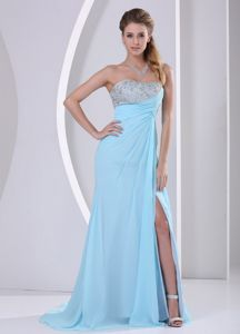 Aqua Blue Beaded Party Dress For Homecoming with High Slit in Nashua