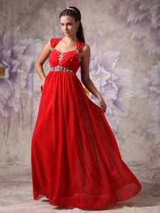Red Empire Straps Accent Vintage Homecoming Dresses with Beads in Alloa