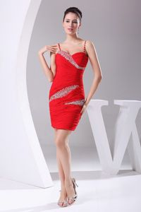 Red Chiffon Mini-length Homecoming Dress with Beading and Ruches