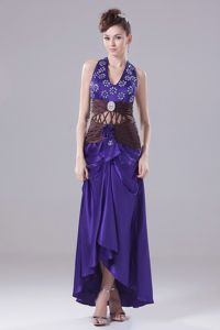 Purple Halter High-low Party Dress For Homecoming with Beading in Biloxi