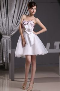Beaded Inexpensive Homecoming Dresses with Sash in Organza in Wayzata