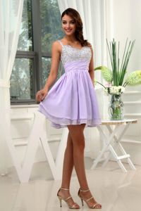 Straps A-Line Evening Homecoming Dress in Lilac in Hawick with Beadings