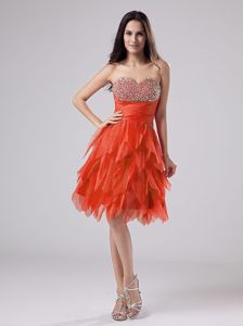 Beaded Sweetheart Ruching Rust Red Homecoming Princess Dresses With Ruffles