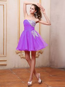 Appliqued Mini-length Ruching Cocktail Homecoming Dress in Lavender in San Carlos