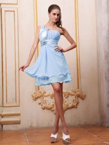 Light Blue Ruching One Shoulder Beading Designer Homecoming Dresses in San Diego