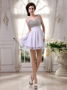 Spaghetti Straps Beaded Mini-length Cocktail Homecoming Dress in Ivory in San Jose