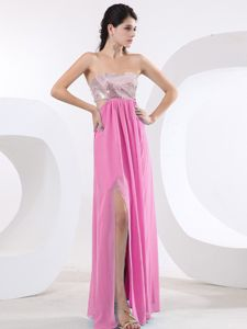 Sexy High Slit Floor-length Fuchsia Prom Homecoming Princess Dresses with Sequins