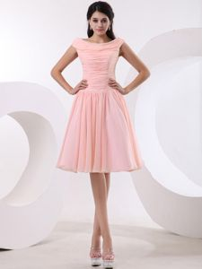 Bateau Peach Pink Ruching Brand New Cocktail Homecoming Dresses in Saint Helena