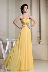 Beading Sweetheart Yellow Ruched Homecoming Dresses For Juniors in Savannah