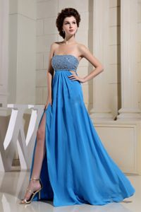 High Slit and Beaded Sexy Royal Blue Inexpensive Homecoming Dress in Smyrna