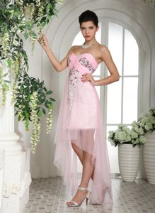 High-low Baby Pink Beading Sweetheart Homecoming Dresses For Party In Jackson