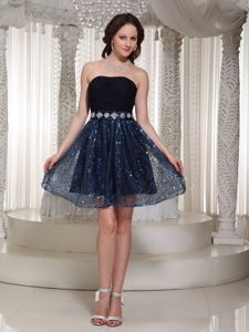 Sequined Sexy Ruching Strapless Black Cocktail Homecoming Dress in Schaumburg
