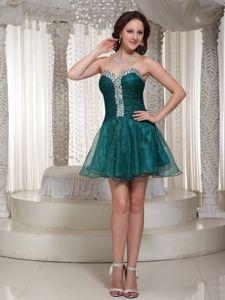 Rhinestoned Organza Peacock Green Cocktail Homecoming Dress in Westborough