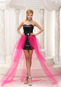 Hot Pink High-low Sweetheart Beading Designer Homecoming Dresses with Paillette