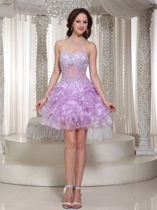 Sexy Beaded Lavender Mini-length Organza Designer Homecoming Dress with Ruffle