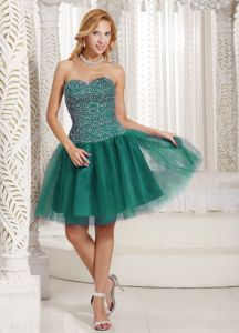 Turquoise Beaded Sweetheart Tulle Cocktail Homecoming Dresses in Southborough