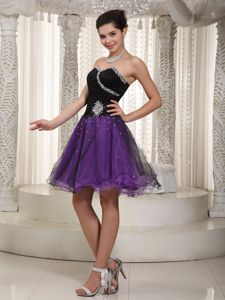 Beaded Purple and Black Cocktail Homecoming Dresses in Mini-length in Sagamore