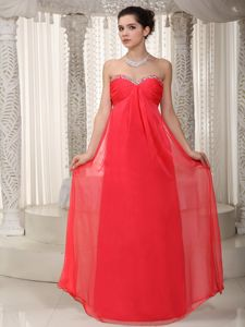 Beading Sweetheart Ruching Floor-length Red Cute Homecoming Dress in Woburn