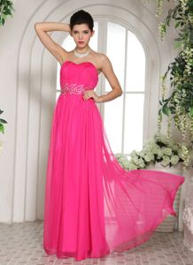 Hot Pink Sweetheart Beaded Ruching Vintage Homecoming Dresses in Westborough