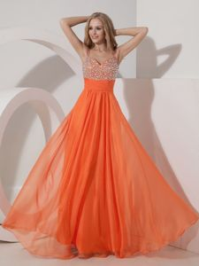 Chiffon Beading Floor-length Cute Homecoming Dresses in Orange Red in Teaneck
