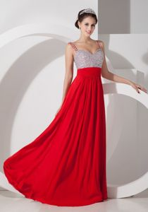 Chiffon Beading Straps Ruching Homecoming Dance Dresses in Red in Toms River