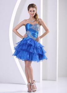 Peacock Blue Ruched Layered Sweetheart Cocktail Homecoming Dress With Beading
