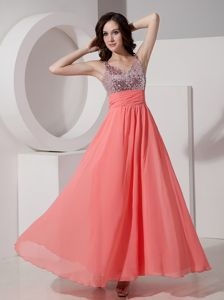 Chiffon Beading Ankle-length Ruched Watermelon Red Homecoming Dance Dresses