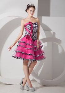 Sweet Zebra Printed Strapless Short Hot Pink Homecoming Dance Dress with Ruffles