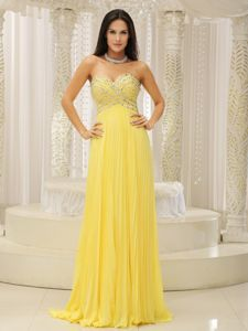 Beaded Yellow Sweetheart Pleating Inexpensive Homecoming Dresses in Sedona
