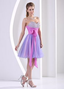 Lavender and Lilac Sweetheart Beading Inexpensive Homecoming Dress With Sash