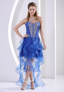 Beaded Royal Blue Asymmetrical Attractive Cocktail Homecoming Dress With Ruffles