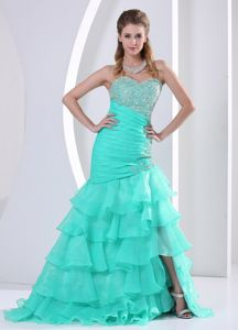 Aqua Blue Ruching Sweetheart Beading Inexpensive Homecoming Dress with Ruffle