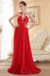 Scoop Court Train Chiffon Beading Red Pretty Sparkly Homecoming Dresses