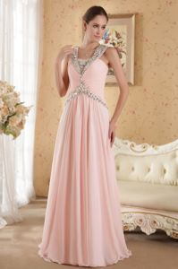 Beading Straps Ruching Court Train Chiffon Pretty Homecoming Dance Dresses