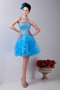 Mini-length Beading Baby Blue Sparkly Homecoming Dresses with Ruffles