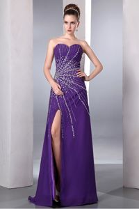 Purple Sweetheart Beaded Evening Homecoming Dresses with High Slit