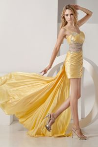 Sweden Yellow High-low Ruched and Beaded Taffeta Homecoming Dresses
