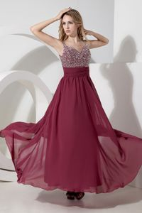 Sexy Burgundy Beaded Ankle-length Chiffon Homecoming Dresses in Lombard
