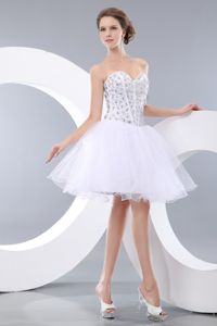 Lovely White Knee-length Designer Homecoming Dresses with Beading