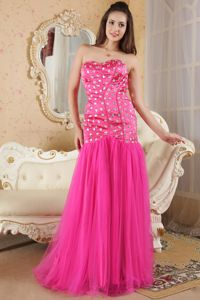 Strapless Hot Pink Beaded Mermaid Organza Homecoming Dress for Prom