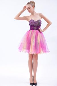 Simple Strapless Sweden Multi-color Ruched Sweetheart Homecoming Dress