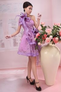 One shoulder Lilac Short Homecoming Dresses with Flowers in Atlanta