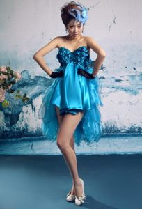 Blue Backless Sweetheart Organza Knee=length Homecoming Cocktail Dress